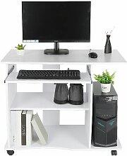 Bureau informatique à 4 roulettes 90x50x75 cm