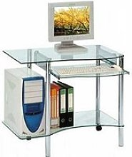 Bureau informatique en verre - pic - l 89 x l 54 x