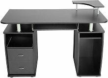 Bureau informatique meuble 115 x 55 x 87 cm noir -