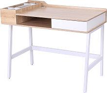 Bureau informatique multi-rangements métal blanc