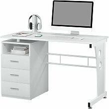 Bureau informatique Rio blanc avec tiroirs de
