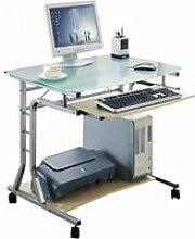 Bureau informatique - roulant - verre/érable
