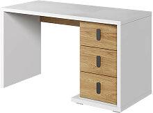 Bureau MASSI avec 3 tiroirs blanc et chêne