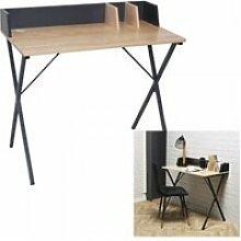 Bureau noir bois avec rangement design industriel