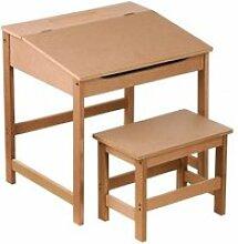 Bureau pupitre avec chaise écolier en bois nature