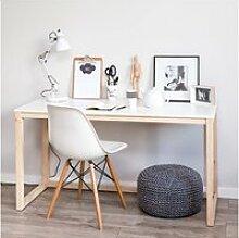 Bureau - scandinavia - 120 cm - blanc / bois de pin
