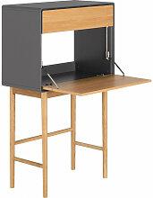 Bureau secrétaire 1 porte 1 tiroir gris et chêne