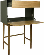 Bureau secrétaire 1 porte 1 tiroir vert et chêne