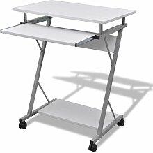Bureau table meuble travail informatique blanche