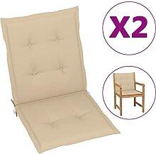 Butifooy Coussins de Chaise de Jardin 2 pcs Beige