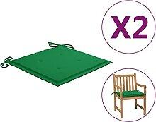 Butifooy Coussins de Chaise de Jardin 2 pcs Vert