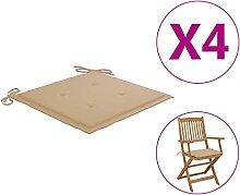Butifooy Coussins de Chaise de Jardin 4 pcs Beige