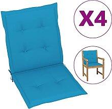 Butifooy Coussins de Chaise de Jardin 4 pcs Bleu