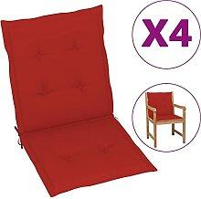 Butifooy Coussins de Chaise de Jardin 4 pcs Rouge