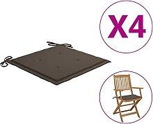 Butifooy Coussins de Chaise de Jardin 4 pcs Taupe