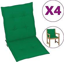 Butifooy Coussins de Chaise de Jardin 4 pcs Vert