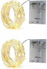 BXROIU 2 x 50 LEDs Guirlande Lumineuse avec