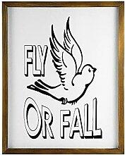 by Unbranded Panneau en bois encadré Fly or Fall,