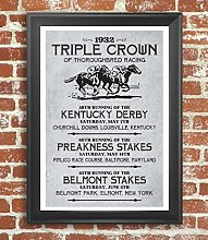 by Unbranded Triple Crown Horse Racing Poster