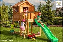 Cabane de jeux en bois avec toboggan - Myhouse