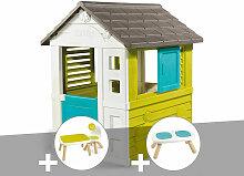 Cabane enfant Pretty + Table et 2 chaises + Banc -