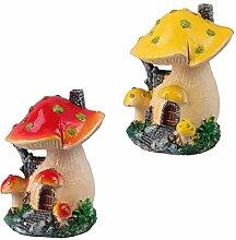 Cabilock 2 Pièces Miniature Champignons Figurines
