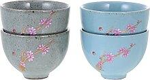 Cabilock 4Pcs Japonais en Céramique Tasse de Thé