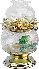 Cabilock Lampes à Huile Cristal Verre Lotus