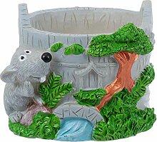 Cabilock Mini Résine Animal Plante Pot Souris