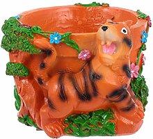 Cabilock Mini Résine Animal Plante Pot Tigre