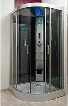 Cabine de douche hydromassante grise 100x100 cm
