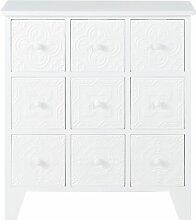 Cabinet de rangement 9 tiroirs blanc motifs