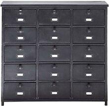Cabinet de rangement indus en métal noir L 88 cm