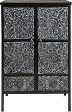 Cabinet en métal et manguier sculpté