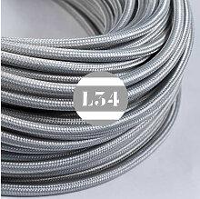 Câble électrique tissu argent soie