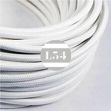 Câble électrique tissu blanc soie