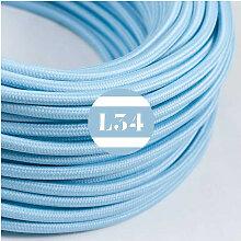 Câble électrique tissu bleu azur soie