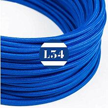 Câble électrique tissu bleu soie