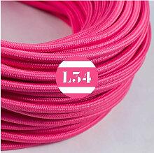 Câble électrique tissu fuchsia soie