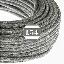 Câble électrique tissu gris lin
