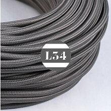 Câble électrique tissu gris soie