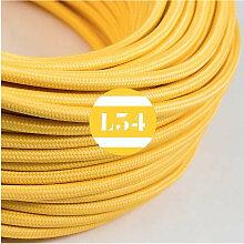 Câble électrique tissu jaune soie