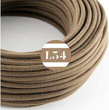 Câble électrique tissu marron coton