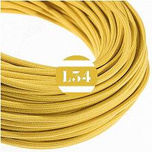 Câble électrique tissu moutarde soie