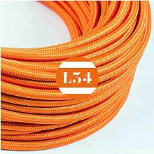 Câble électrique tissu orange soie