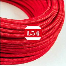 Câble électrique tissu rouge soie