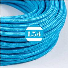 Câble électrique tissu turquoise soie