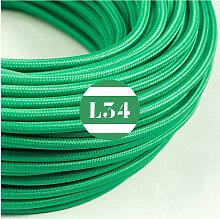 Câble électrique tissu vert soie