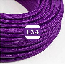 Câble électrique tissu violet soie
