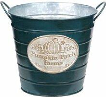 Cache-pot bleu pumpkin en métal aspect zinc 15 cm